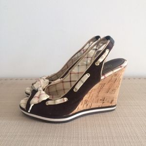 Coach wedge shoes with signature bow - size 8